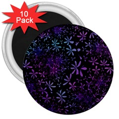 Retro Flower Pattern Design Batik 3  Magnets (10 Pack)