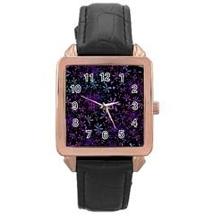 Retro Flower Pattern Design Batik Rose Gold Leather Watch