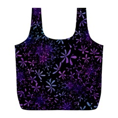 Retro Flower Pattern Design Batik Full Print Recycle Bags (l)