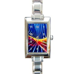 Color Colorful Wave Abstract Rectangle Italian Charm Watch