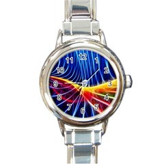 Color Colorful Wave Abstract Round Italian Charm Watch