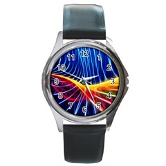 Color Colorful Wave Abstract Round Metal Watch