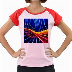 Color Colorful Wave Abstract Women s Cap Sleeve T Shirt