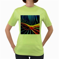 Color Colorful Wave Abstract Women s Green T-Shirt