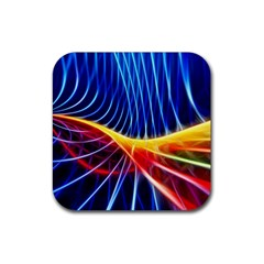 Color Colorful Wave Abstract Rubber Coaster (square)