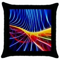 Color Colorful Wave Abstract Throw Pillow Case (black)