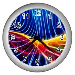 Color Colorful Wave Abstract Wall Clocks (silver)