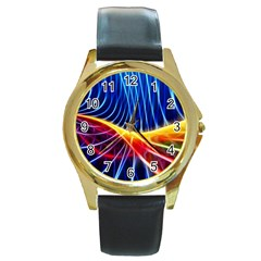 Color Colorful Wave Abstract Round Gold Metal Watch