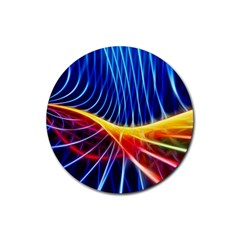 Color Colorful Wave Abstract Rubber Coaster (round)