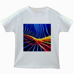 Color Colorful Wave Abstract Kids White T Shirts
