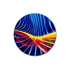Color Colorful Wave Abstract Magnet 3  (round)