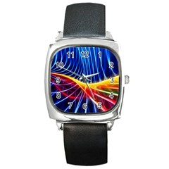 Color Colorful Wave Abstract Square Metal Watch