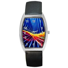 Color Colorful Wave Abstract Barrel Style Metal Watch