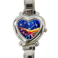 Color Colorful Wave Abstract Heart Italian Charm Watch