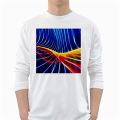 Color Colorful Wave Abstract White Long Sleeve T Shirts