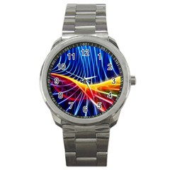 Color Colorful Wave Abstract Sport Metal Watch