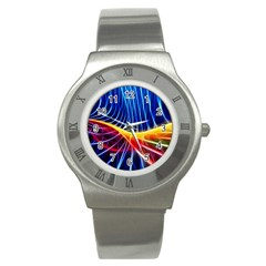 Color Colorful Wave Abstract Stainless Steel Watch