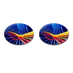 Color Colorful Wave Abstract Cufflinks (oval)