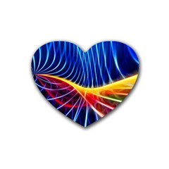Color Colorful Wave Abstract Heart Coaster (4 Pack)
