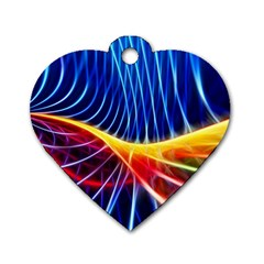 Color Colorful Wave Abstract Dog Tag Heart (one Side)