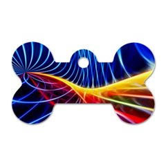 Color Colorful Wave Abstract Dog Tag Bone (one Side)