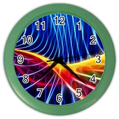 Color Colorful Wave Abstract Color Wall Clocks