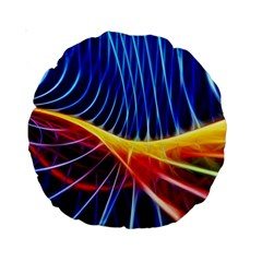 Color Colorful Wave Abstract Standard 15  Premium Round Cushions