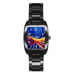 Color Colorful Wave Abstract Stainless Steel Barrel Watch