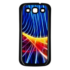 Color Colorful Wave Abstract Samsung Galaxy S3 Back Case (Black)