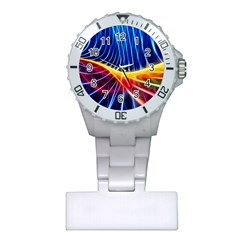 Color Colorful Wave Abstract Plastic Nurses Watch