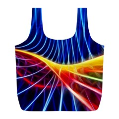 Color Colorful Wave Abstract Full Print Recycle Bags (l)