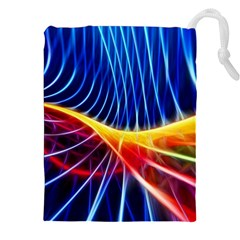 Color Colorful Wave Abstract Drawstring Pouches (XXL)
