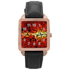 Board Conductors Circuits Rose Gold Leather Watch