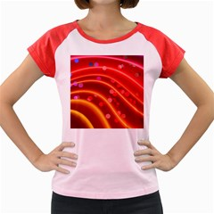 Bokeh Lines Wave Points Swing Women s Cap Sleeve T Shirt
