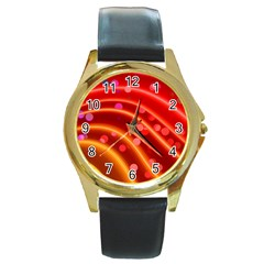 Bokeh Lines Wave Points Swing Round Gold Metal Watch