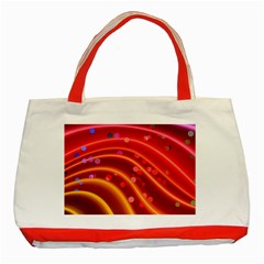 Bokeh Lines Wave Points Swing Classic Tote Bag (red)
