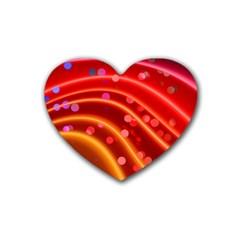 Bokeh Lines Wave Points Swing Rubber Coaster (Heart)