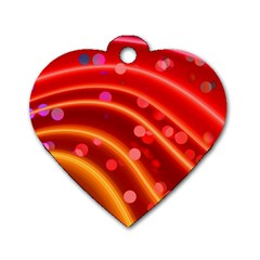 Bokeh Lines Wave Points Swing Dog Tag Heart (one Side)