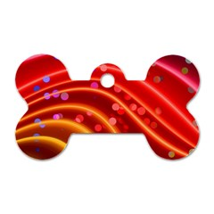 Bokeh Lines Wave Points Swing Dog Tag Bone (two Sides)