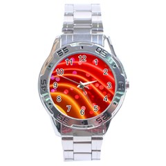 Bokeh Lines Wave Points Swing Stainless Steel Analogue Watch