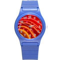 Bokeh Lines Wave Points Swing Round Plastic Sport Watch (s)