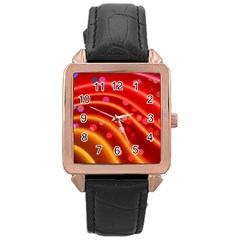 Bokeh Lines Wave Points Swing Rose Gold Leather Watch