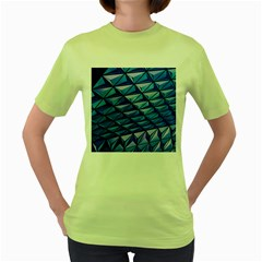 Lines Geometry Architecture Texture Women s Green T Shirt