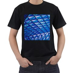Lines Geometry Architecture Texture Men s T-Shirt (Black) (Two Sided)