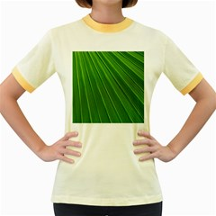 Green Lines Macro Pattern Women s Fitted Ringer T-Shirts