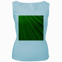 Green Lines Macro Pattern Women s Baby Blue Tank Top