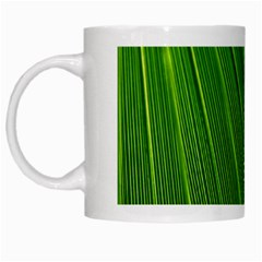 Green Lines Macro Pattern White Mugs
