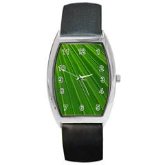 Green Lines Macro Pattern Barrel Style Metal Watch