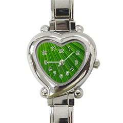Green Lines Macro Pattern Heart Italian Charm Watch