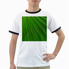Green Lines Macro Pattern Ringer T Shirts